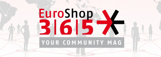 The new logo of the trade fair EuroShop with connected people and world map in the background; copyright: EuroShop