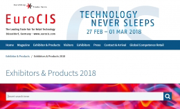 Photo: Screenshot of the overview of exhibitors and products EuroCIS 2018; copyright: Messe Düsseldorf