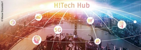 Graphic for H!Tech Hub, in the background the city of Düsseldorf; copyright: Messe Düsseldorf
