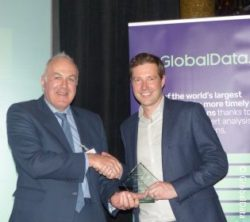 Picture: Neil Staddon, Indo Count Industries, presents the Best Homewares Retailer Award to Laurence Mitchell, John Lewis; copyright: GlobalData
