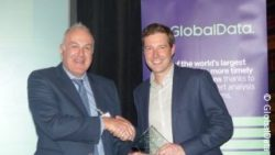Picture: Neil Staddon, Indo Count Industries, presents the Best Homewares Retailer Award to Laurence Mitchell, John Lewiss ; copyright: GlobalData