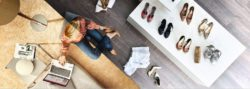 Photo: Woman is shopping shoes from her couch; copyright: Fujitsu Technology Solutions GmbH