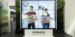 Photo: mobile video wall; copyright: Umdasch Shopfitting