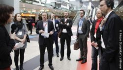 Photo: Participants of the Guided Innovation Tour on the EuroCIS 2016; copyright: Messe Düsseldorf / ctillmann