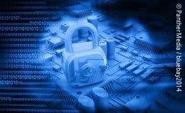 Graphic of a padlock and a circuit board in the background; copyright: PantherMedia / bluebay2014