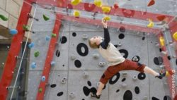 Photo: climbing at Globetrotter store in Cologne; © Globetrotter