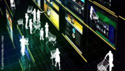Photo: Virtual surveillance camera image of people with shopping carts; copyright: panthermedia.net / ndul