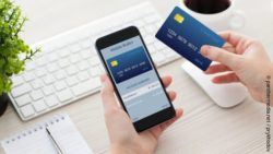 Photo: Person holding smartphone with mobile wallet application and credit card; copyright: panthermedia.net / prykhodov